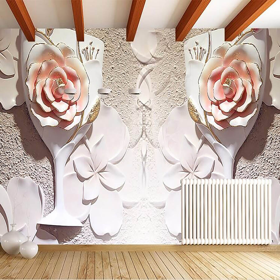 Large Embossed Rose Room Wallpaper 3d for Livingroom Wall 3 d Flooring Ceiling Room Nateral Non Woven Mural Rolls Background<br><br>Aliexpress