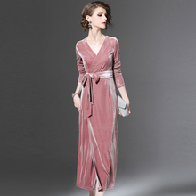 Buy Sexy v neck wrap velvet dresses 2017 Winter women Mid-Calfd dresses Long sleeve tie waist party dresses Vestido mujer robe femme for $24.75 in AliExpress store