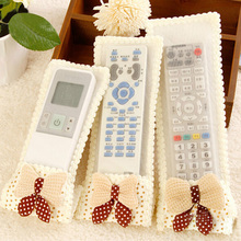 1 PCSNew Bowknot Design TV Remote Control Case Air condition Dustproof Remote Control Cover Textile Protective Bag(China)