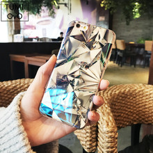 Luxury Blue Light Case For iPhone X 10 Diamond Mirror Case Soft TPU For iPhone 6 6s Plus 7 Plus 8 Plus Silicon IMD Protect Cases(China)