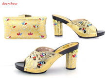 doershowFree Shipping,Italian Women Shoes And Bags To Match Set Sale Beaded African Matching Shoes And Bag For GOLD Color JK1-31(China)