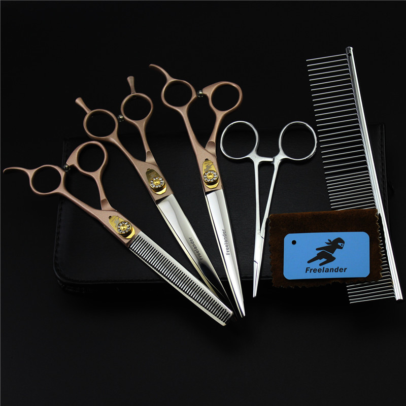 7 inch High Quantity Rose Gold Handle Pet grooming scissors sets,Dog scissors ,STRAIGHT&amp;THINNING &amp; CURVED scissors 3pcs/ set<br>