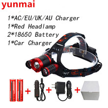 Red Led Headlight 8000Lm Rechargeable Headlamp Flashlight Head Torch Linterna XML T6 Camping Hunting 18650 Light +Car / charger