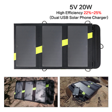 Foldable Portable Solar Panels Charger 5V 20W Solar Battery Solar Mobile Phone Charger for iPhone Xiaomi Samsung HTC LG iPad(China)