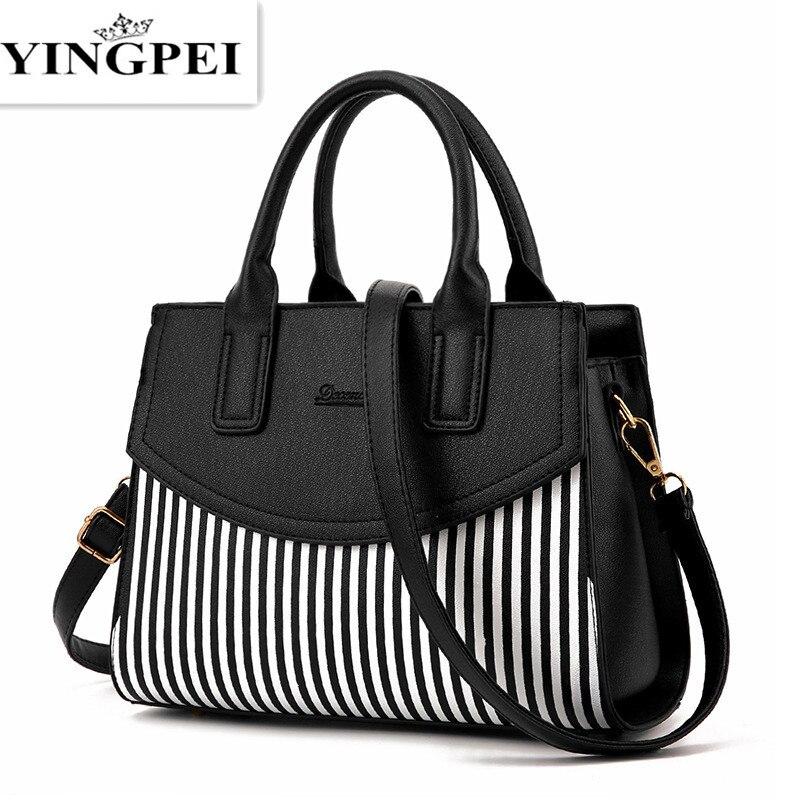 Ladies Black and White Striped Women Fashion Casual Tote Top-handle Shoulder Messenger Bags Bao Bao Pearl BaoBao Bolsas Handbags<br><br>Aliexpress