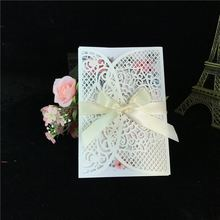 50pcs FREE SHIPPING White Vine Damask Vintage Flower Wedding Invitation Card Cover Only, With Bow,NO inner insert,NO envelope