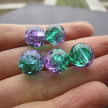 Free shipping 20Pcs/Lot 8mm 10mm  Glass Beads Crack Beads Purple Green  Color  for jewelry making