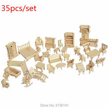 New arrive 35 pcs/set  wood Furniture toys  miniature chair miniature dollhouse furniture accessories Develop intelligence