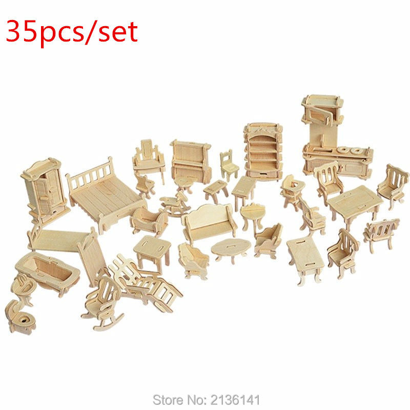 New arrive 35 pcs/set wood Furniture toys miniature chair miniature dollhouse furniture accessories Develop intelligence(China (Mainland))