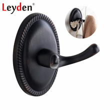 Leyden ORB Round Base Hanging Hook Wall Mounted Clothes Hook Brass Metal Coat Hooks Black Retro Hooks Robe Bathroom Accessories(China)