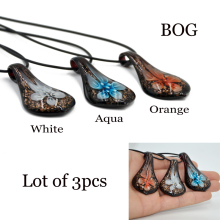BOG- Lot 3 pcs Lampwork Murano Glass Dust Flower Statement Pendant Sythetic Leather Chain Necklace Fashion Jewelry