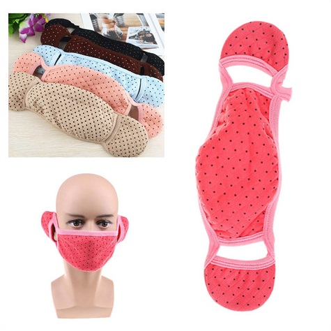 Velvet Thermal Mouth Face Mask Fleece Ears Neck Windproof Warmer Bicycle Cycling Snowboard Winter Protection Color Random