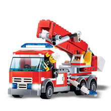 244pcs Fire Rescue Building Blocks Kit Firefighting Truck DIY Toys Compatible With Legoed Children Birthday Gifts