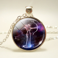Galaxy Nebula 12 Constellation Scorpio Sagittarius Capricorn Aquarius Pendant Silver Color Necklace Glass Dome Zodiac Jewelry(China)