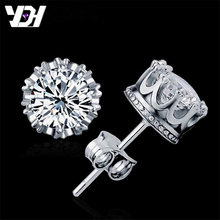 925 Sterling Sliver Fashion Jewelry 8MM Round 2 Carat Cubic Zirconia Silver Stud Earrings for Women(China)