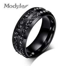 Modyle 2017 New Fashion Men Rings Black Crystyal Rings Stainless Steel Men Wedding Rings