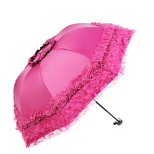 Brand Umbrella Women Lace Rain&Sun Sweet Princess Umbrella UV Protection Three Folding Durable Spitze Regenschirm(China)