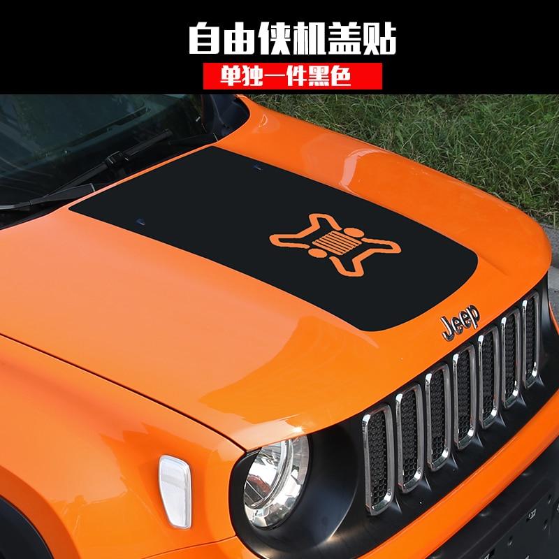 KOUVI Car Body Sticker Blackout Car Hood Decal for Jeep Renegade 2015 2016 Car Accessories<br>