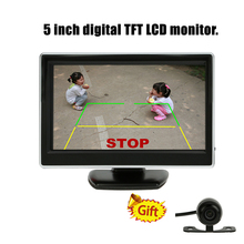 5 Inch Auto Parking System Display HD Car Rearview Mirror Monitor with Rear View Camera Support VCD DVD GPS with 2 Video Inputs