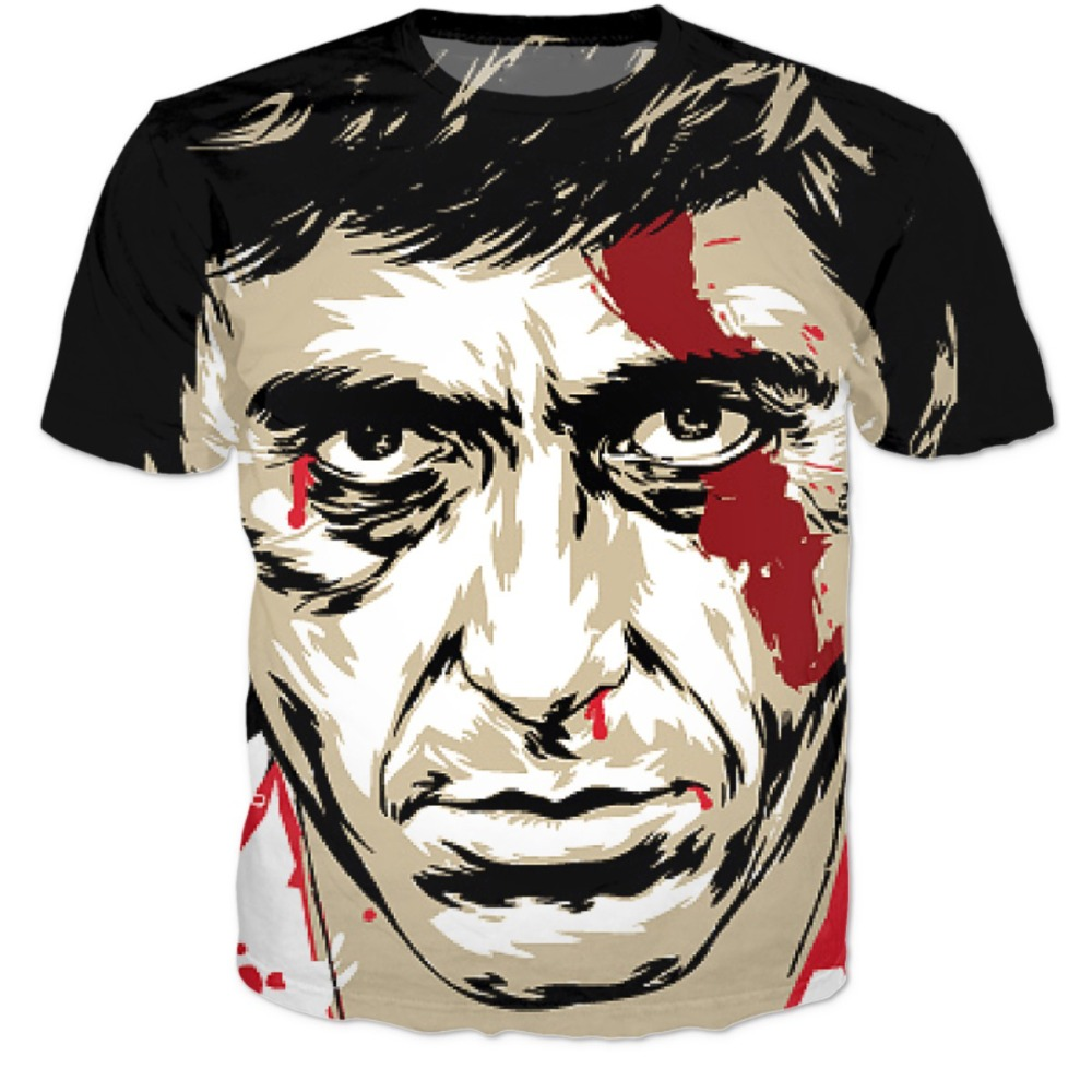 Scarface money power respect vinyl wall decal for home decore - Fashion Summer 3d T Shirt Harajuku Tee Shirts Scarface Al Pacino 3d T Shirts Women Men Casual Tshirts Hip Hop Tops Tees S Xxxl