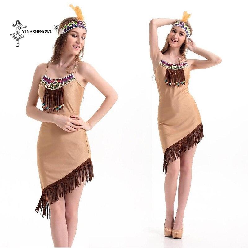 Halloween Indian dress Cosplay costume lehenga choli hunters Tassel Indian Tribal dress Women Fringed Native Indians Princess