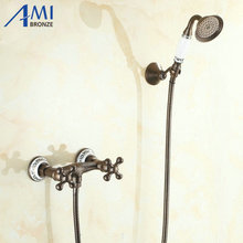 Wall Mounted Roman Bronze Brass Bath Faucets Bathroom Basin Mixer Tap Ceramci Crane With Hand Shower Head Shower Faucet(China)