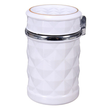 Portable Universal Cars Bus Auto table LED ashtray glitter Ashtray cover Color:White(China)