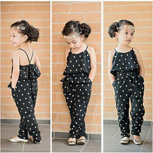 2016 Hot-Selling Baby Kids Girls One-piece Sleeveless Heart Dots Bib Playsuit Jumpsuit T-shirt Pants Outfit Clothes 2-7Y(China)