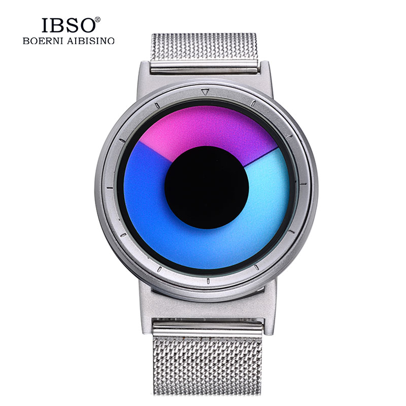 IBSO Mens Watches Top Brand Luxury Steel Mesh Strap 2017 Hide Watch-head Fashion Creative Quartz Sport Watch Men 3ATM Waterproof<br>