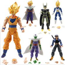 6pcs/set Gift Crazy Party Dragon Ball Z GT Goku Gohan Vegeta Trunks Cell Piccolo PVC action Figures Collectible model Doll toys(China)