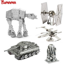 Star Wars 3D Metal Puzzle Full Set For Children Assemble DIY Model Building Toy Jigsaw Puzzles X-Wing AT Fighter Robot 3D Puzzle