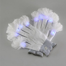 100pair Flashing Finger LED Colorful Gloves Halloween Christmas Easter Party Glow Luminous Gloves Light Show Light Up ZA3705(China)