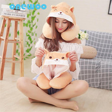 Cartoon Cute Washable Dog Cat Expression Plush Cap with U-pillow Toy Sweet Lovely Stuffed Animal Dog Doll Friend Birthday Gift(China)