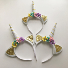 2 Pcs Children Decorative Unicorn Horn Hair Hoop with Flowers Glitter Ears for Girls Boys Easter Bonus Party Head Accessories(China)
