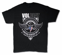 "Fashion Clothing men Men T shirt Round Neck Teenage Pop Top Tees VOLBEAT ""U.S.A. 2014"" BLACK BAND MUSIC tee shirts design tee(China)"