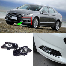 Superb COB Angel Eye Rings Projector Lens with 3000K Halogen Lamp Source Black Fog Lights Bumper Cover For Ford Mondeo 2016