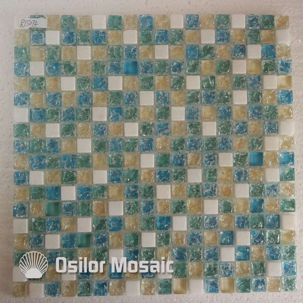 Free shipping mediterranean sea style cracked pattern blue glass and crystal mosaic tile with stone for bathroom or living room<br><br>Aliexpress