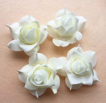 100pcs 7cm Ivory DIY Accessries Handmade EVA Foam Rose Flower Heads For Hair Garland Party Wedding Decoration Flower Ball Making