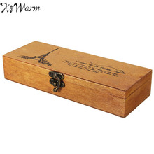 KiWarm Vintage Retro Multifunction Wooden Pencil Case jewelery Stationery Storage Box Cosmetic Makeup Decoration Crafts Box Gift