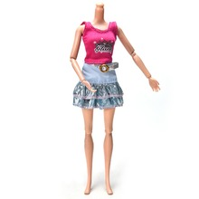 "Fashion Clothes Doll Accessories Two-Piece Blue for 11"" Doll Fashion Skirt Suit for Barbie Pink Vest"