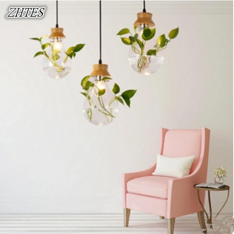 Solid Wood Pendant Light Pastoral Plant Glass Pendant Light Restaurant Shop Bar Design Lighting<br>