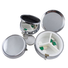 1pcs/lot Metal Round Silver Tablet Pill Boxes Holder Advantageous Container Medicine Case Small Case