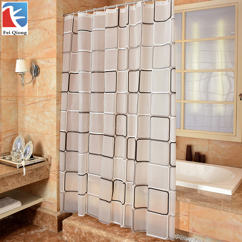 Feiqiong Brand Waterproof Shower Curtain With Hook Plaid Bathroom Curtains High Quality Bath Bathing Sheer For Home Decoration(China (Mainland))