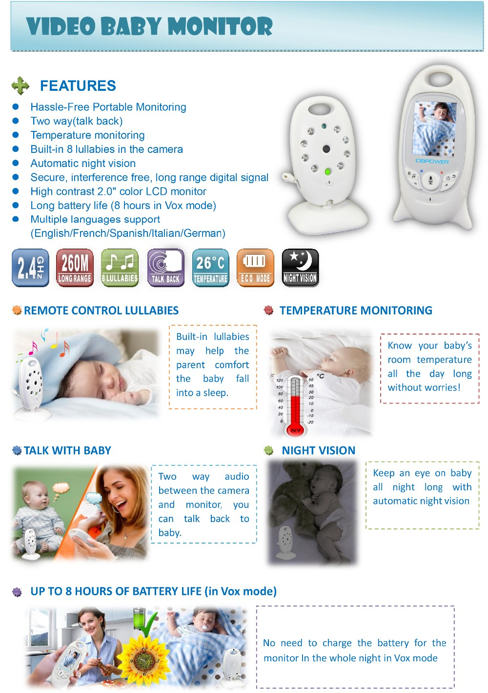 2.0 Color LCD Video Wireless Baby Monitor 2 Way Talk Night Vision IR (4)