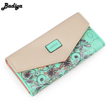 2017 New Fashion Flowers Envelope Women Wallet Hot Sale Long Leather Wallets Popular Change Purse Casual Ladies Cash Purse(China)