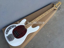 Free Shipping  Hot Selling Chinese Left Handed 4 Strings Music Man Bass Guitar In White Color With Sliver Hardware
