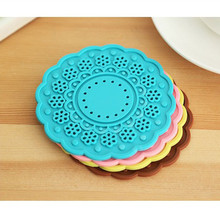 Non-slip Silicone Lace Flower Cup Coaster Pad Table Placemats(China)