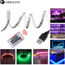 5M RGB LED Strip Waterproof tiras SMD 5050 LED Strip TV Tape Lighting 5V USB Computer Led Lighting with 24keys Remote Controller(China)