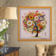 155W*155H Grids DIY Colorful Four Seasons Tree Counted Cross Stitch Kit Embroidery Spring Summer Autumn Winter