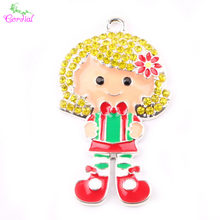 Fine Jewelry 1pcs With Chain Chunky Cartoon Alloy Pendant Gift Girl Pendant For Christmas Kids Necklaces Jewelry KQRP-503550(China)